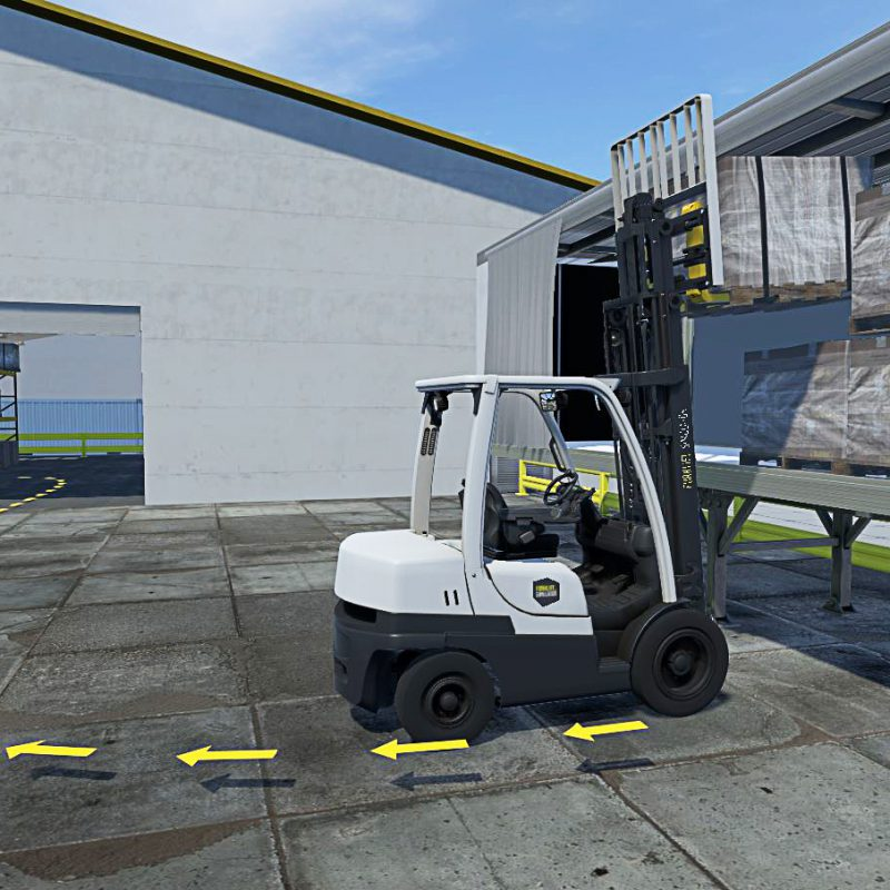 Sit Down Counterbalance side loading a truck